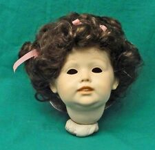 LA SIOUX  DOLL WIG 6-7 LT BROWN  -CURLY SHORT HAIR -PINK BOWS