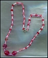 Necklace - Extremely Attractive Colour Art Deco Cranberry Crystal Glass Bead