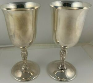 "WM Rogers 395 Silverplate Water Goblets w/ Floral Stem, 6 3/4"", Beautiful!"