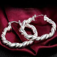 Girls 925 Sterling Silver Plated Twisted Hoop Gift Earrings Eardrop Jewelry