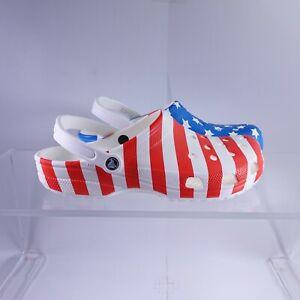 Size 13 Men's Crocs Classic American Flag Clogs 205974-94S White/Multi