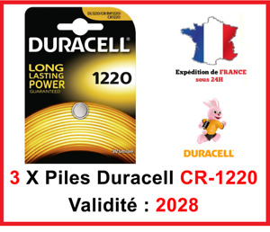 3 Piles CR-1220- DL-1220 DURACELL bouton Lithium 3V DLC 2028