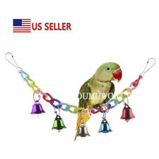 Bird Chew Toys Natural Wood Climbing Swing Toy with Bell for Parrot Grey Macaw