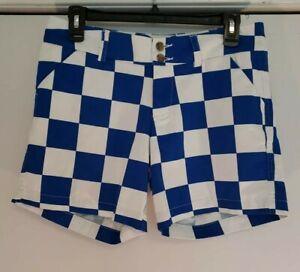Women's Loudmouth Golf Blue White Checkered Shorts Sz 4 EUC