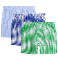Ritzy Men's Boxer Shorts Underwear 100% Cotton Plaid Yarn Dyed Woven - 3 Pack