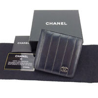 Chanel Wallet Purse Bifold Black Silver Woman Authentic Used Y3329