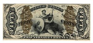 Fr#1366 50 Cents Green Reverse 3rd Issue Fractional - AU !!
