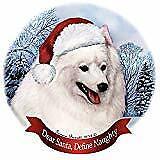 Holiday Pet Gifts Japanese Spitz Dog Santa Hat Porcelain Ornament