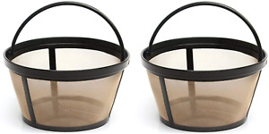 2 X Permanent Basket-Style Gold Tone Coffee Filter designed for Mr. Coffee 10-12