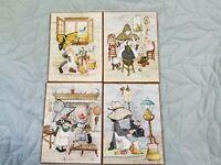 Vintage Sunbonnet Sue Bonnet Girl Lot Of 4 Wall Hanging Plaques IVY