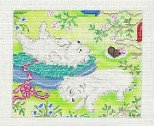 Dog /& Cat Watching CHristmas Tree Needlepoint Canvas  H39