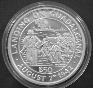 Tokelau 50$ Silver Proof 1991 World War II Landing on Guadalcanal