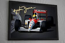 Ayrton Senna F1 McLaren World Champion A3 Framed Canvas Signed Print
