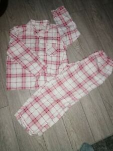 Pink Chequed Flannel Pyjamas Size 14 Full Length Long Sleeved
