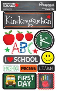 Scrapbooking Crafts Stickers 3D Kindergarten ABC First Day Bus Recess Friends