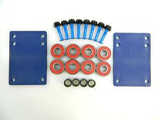 "Skateboard 1/8"" Blue Riser Pad + ABEC 7 Bearings + Spacers + 1.0"" Hardware"