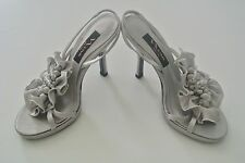 Silver Satin NINA NEW YORK Embellished Evening Shoes, Sz 6M, 4-in heels