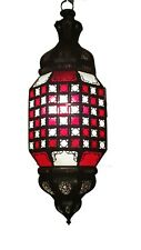 Authentic Moroccan HAND MADE  Hanging Lantern Carved Frosted colored Glass Lamp