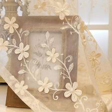 European Bead Embroidery Lace Sheer Curtain Beige Tulle Rod Pocket Custom 1Piece