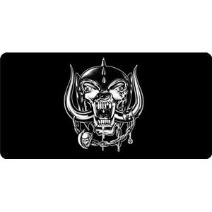 motorhead logo on black metal license plate made in usa