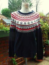 TU Woman Fair Isle Knit Navy Stretchy Christmas Jumper  Size 16-18