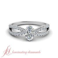 2 Stone Split Shank Engagement Ring 0.85 Carat Round Cut Diamond In Platinum