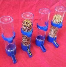 Bird Feeder X 4 Water Drinker Seed Clipper Fountain Budgie Canary Finch Lg BLUE