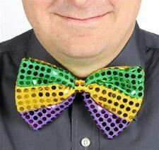 Mardi Gras Green Gold Purple Glitz 'N Gleam Sequin Bow Tie Costume Accessory