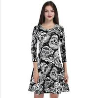 Woman O Neck dress Floral Smile Skull Printed Long Sleeve Pleated dress S-XL