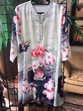 StyleWe Multiflora Green Floral-print 3/4 sleeve Midi dress