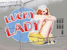 Lucky Lady Vintage War Aeroplane Classic Pin-up Large Metal/Steel Wall Sign
