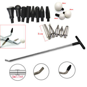 PDR - Paintless Dent Removal Tools, Rods, Hook Tools, Push Rod 8 Piece Tap Heads