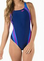 Speedo Blue Women's Size 6 Quantum Splice One-Piece Swimwear Swimsuit $78 #558