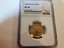 1986 AMERICAN GOLD QUARTER OUNCE EAGLE COIN GRADED MS 70 BY NGC