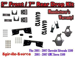 "5"" / 7"" - 8"" Drop Kit FOR 2001 - 07 Chevy Silverado GMC Sierra V8  + C-NOTCH 5/7"