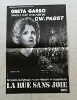 Cinema Plakat La Straße Ohne Freude GW Pabst Greta Garbo Ressortie Annees 70