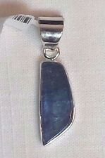 Natural Tanzanite Stone Set in Simple Sterling Silver Pendant Organic