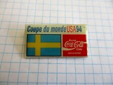 FLAG SWEDEN PIN BADGE DRAPEAU SUEDE FOOT CUP 94 COCA COLA VINTAGE PINS us4/3