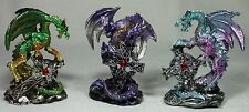 9cm Dragon Figurine w Celtic Cross Set of 3 NEW 1 x Green Purple Aqua *LAST SET*
