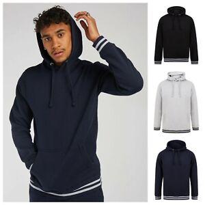 Sports Striped Cuff Hoodie Long Sleeve Fleece Hooded Top Sweatshirt Hoody Jumper