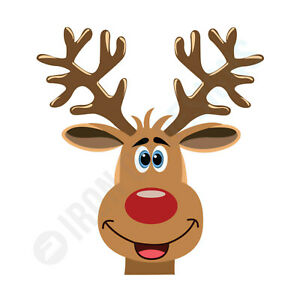 CHRISTMAS REINDEER FACE - IRON ON TSHIRT TRANSFERS - A6 A5 A4