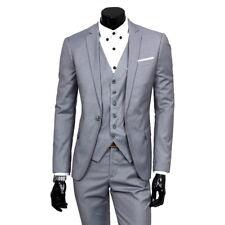 Mens 4-Botton Suits Blazer 3PCs Business Slim Fit  Suits Jacket+ Vest+Trouser