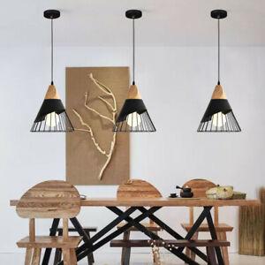 3X Black Pendant Light Kitchen Lamp Wood Ceiling Lights Bar Chandelier Lighting