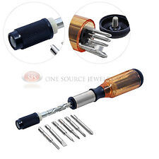Automatic Spiral Ratchet 7 Piece Screwdriver Set Phillips Slotted Hex Hobby Tool