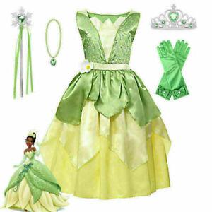 Dream Princess Tiana Girls Fancy Dress Disney Princess and the Frog Kid Costumer