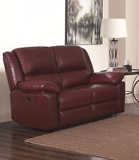 Burgundy Red High Grade Genuine Leather 2 Seater Reclining Recliner Sofa TOLEDO