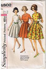 Vtg 50s Retro Rockabilly Box Pleat Dress Belt Simplicity Sewing Pattern Sz 16
