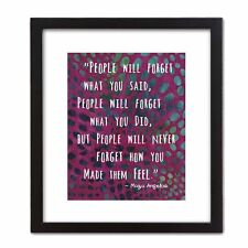 Decorative FRAMED ART PRINT Gift. Inspirational Quote: MAYA ANGELOU Never Forget