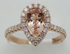 14k ROSE GOLD DIAMONDS AND PEAR SHAPE HALO MORGANITE RING