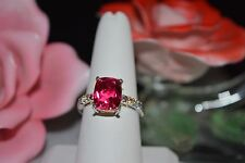 Rubellite Color Quartz, Multi Gemstone Ring 14K YG over 925 SS Sz9 TGW 5.170 cts